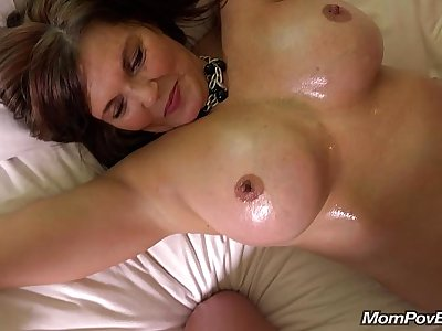 Big tit country MILF rides cock BTS
