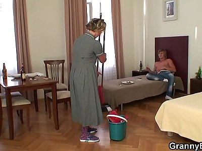 Sexy cleaning woman riding his horny dick
