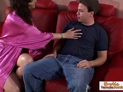 Milf seduces and fucks her sons friend on the sofa