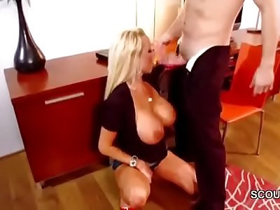 Big Natural Tit Step-Mom Caught Step-Son and Helps him